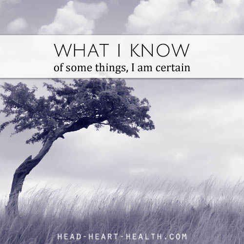 what I know - of some things I am certain